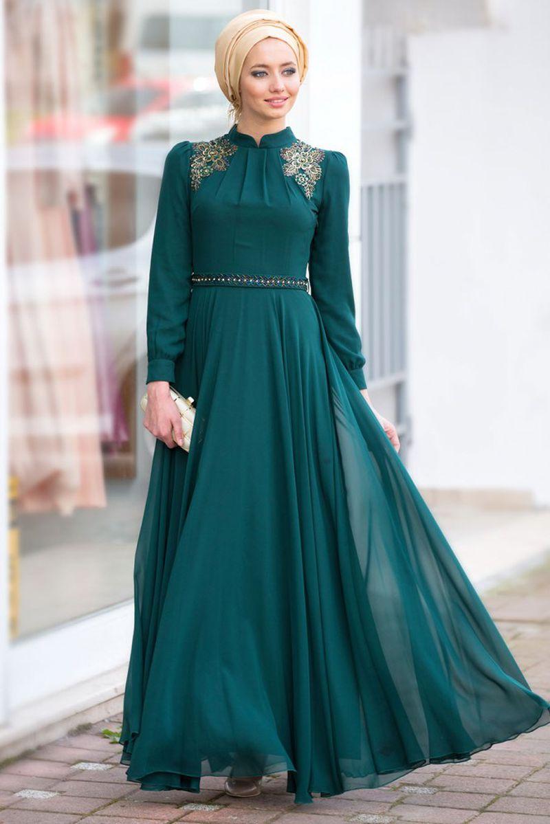 صور فساتين سواريه بسيطه وشيك للمحجبات , اجمل الفساتين السواريه للمحجبات