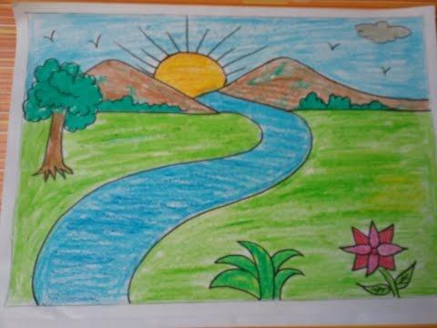 صور رسم منظر طبيعي سهل للاطفال , اسهل رسومات للاطفال