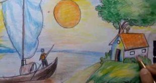 صورة رسم منظر طبيعي سهل للاطفال , اسهل رسومات للاطفال
