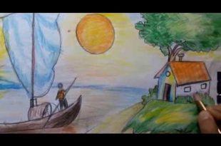 صوره رسم منظر طبيعي سهل للاطفال , اسهل رسومات للاطفال