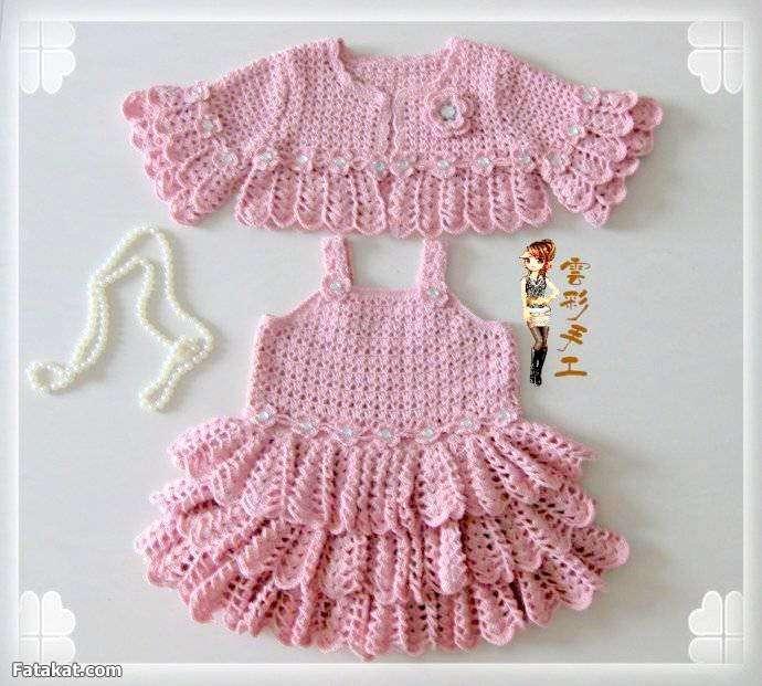 صورة فساتين اطفال كروشيه , بالصور اجمل الفساتين الكروشيه 3816 6