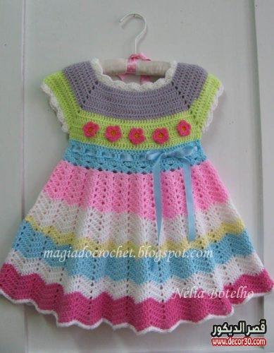 بالصور فساتين اطفال كروشيه , بالصور اجمل الفساتين الكروشيه 3816