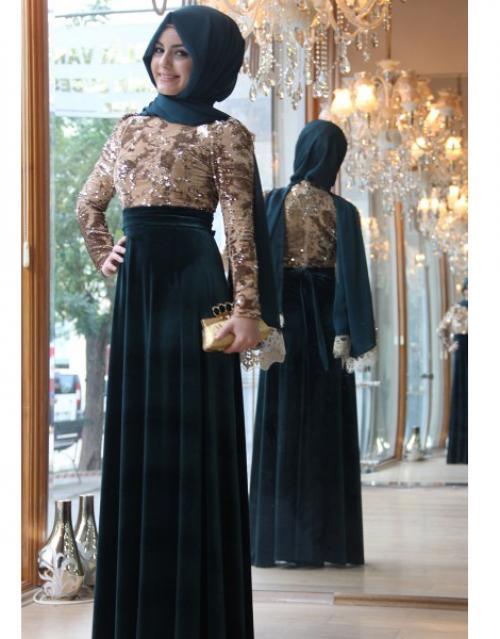 بالصور اجمل الفساتين للمحجبات , افضل فساتين العام للمحجبات 443 5