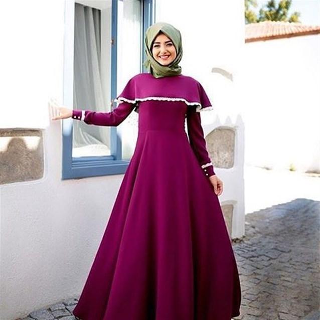 بالصور اجمل الفساتين للمحجبات , افضل فساتين العام للمحجبات 443 7