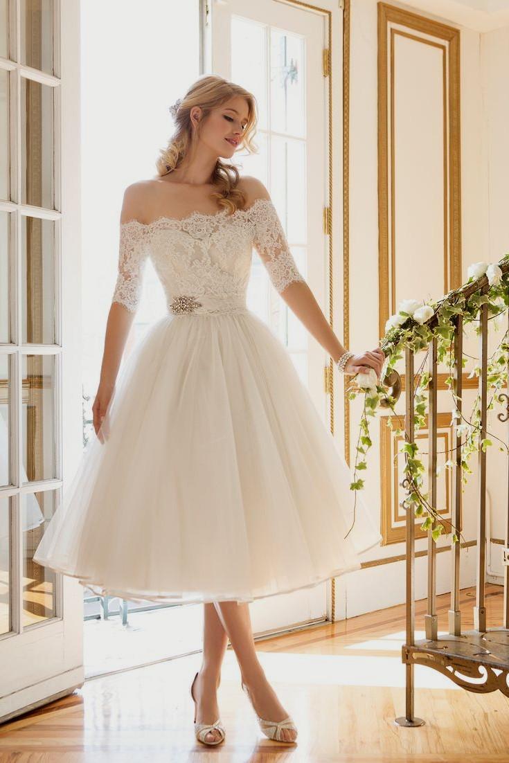 صورة فساتين زفاف قصيره , اطلالتك المميزة بفستان الزفاف القصير