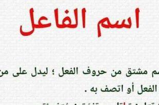 صورة ما هو اسم الفاعل , احد دروس النحو في اللغه العربية